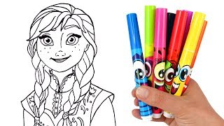 How to Draw Anna from Frozen | Drawing & Coloring for Kids