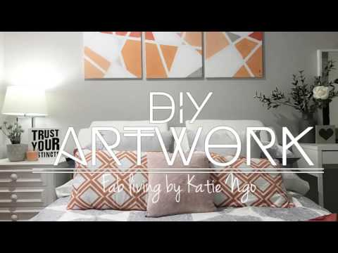 2017 DIY Fast & Easy Modern ARTWORK Canvas Orange Silver Painting | Dianella Project