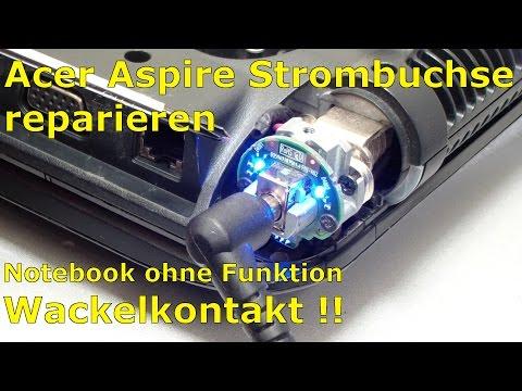 Notebook Strombuchse reparieren löten bei Acer-Laptop im Scharnier