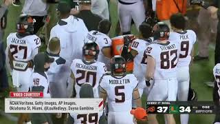 Mike Gundy gets doused with Cheez-Its after bowl win