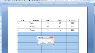 Shortcut key to Insert Rows in Table in MS Word