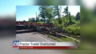 Tractor Trailer Overturned in Cherokee County