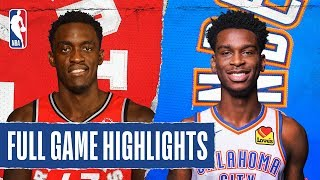 RAPTORS at THUNDER | FULL GAME HIGHLIGHTS | January 15, 2020  Norman Powell (23 PTS) Pascal Siakam (21 PTS) and OG Anunoby (21 PTS) each shot 60% or better from the field as the Toronto Raptors won 130-121 against the Oklahoma City Thunder. Chris Paul put up 16 PTS, 11 AST and 4 STL for OKC.  Subscribe to the NBA: https://on.nba.com/2JX5gSN   Full Game Highlights Playlist: https://on.nba.com/2rjGMge  For news, stories, highlights and more, go to our official website at https://nba_webonly.app.link/nbasite  Get NBA LEAGUE PASS: https://nba.app.link/nbaleaguepass5