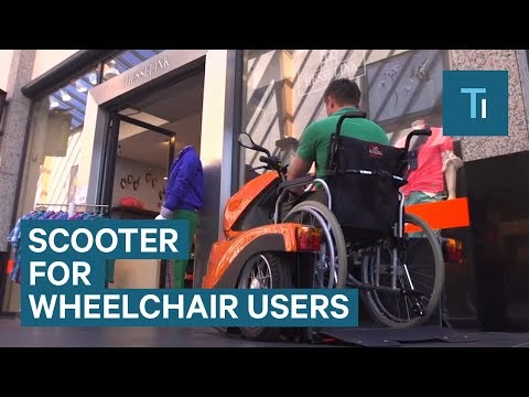 This electric scooter makes it easier for wheelchair users to get around
