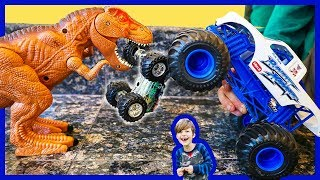 Monster Trucks and Dinosaurs Attack Toy Trucks for Kids