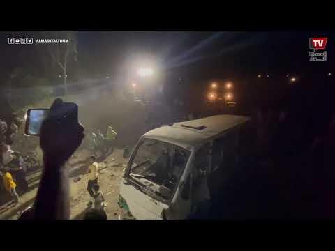 اللقطات الأولى من موقع حادث قطار حلوان