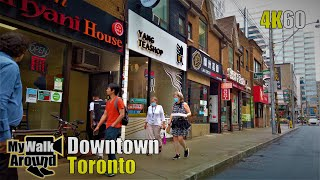 Downtown Toronto walk from Wellesley Station to  Front Street during a light rain on June 23 2020