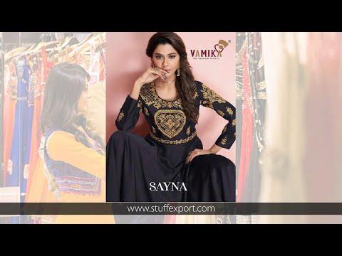 Arihant Vamika Sayna Soft Silk Gown Type Kurti Catalog