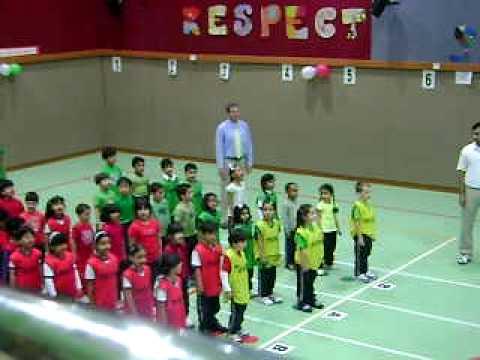 Ben's sports day, singing National Anthem 2010 Abu Dhabi