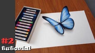 Как нарисовать бабочку в 3d. Иллюзия объема БЕЗ КАМЕРЫ и под любыми углами!!!