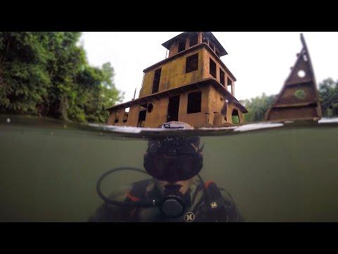 Scuba Diving Half Sunken Tug Boat in River! (Explored for Potential Treasure)