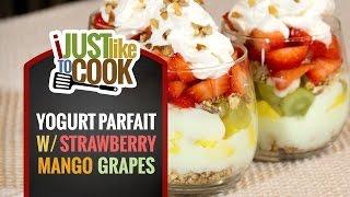 Yogurt Parfait With Strawberries, Mango, & Grapes