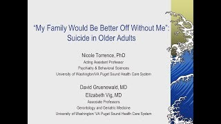 """Suicide in Older Adults: """"My Family Would Be Better Off Without Me"""""""