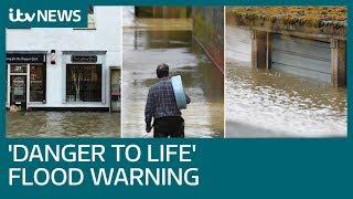 Floods bring &39danger to life&39 as heavy rain batters UK | ITV News