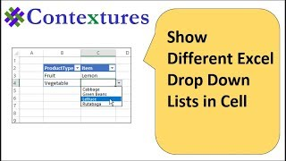 Show Different Excel Drop Down Lists in Cell
