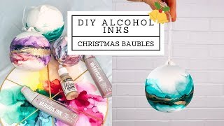 DIY Alcohol Ink Christmas BAUBLES With Art By Aquarius