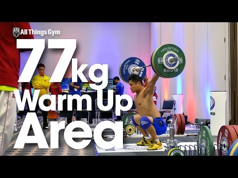 77kg Warm Up Area with Lu Xiaojun 2015 World Weightlifting Championships