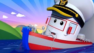 Авто Патруль -  Катер Бобби сел на мель посреди высохшего озера! - детский мультфильм