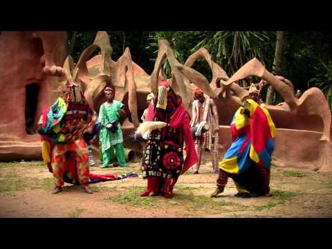Egungun Dancing with Bata Drums - African Bata Lebee Cultural Troupe - Osun Grove