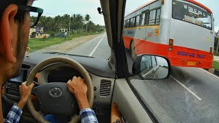 KSRTC SKS Bus driver pushes us off the highway main road!!!