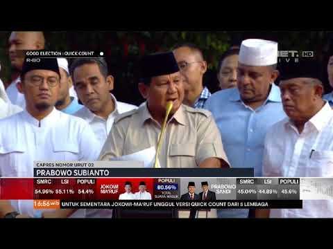 Pidato Capres 02 Prabowo Tanggapi Hasil Exit Poll & Quick Qount Pilpres 2019- NET. JATIM