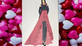 Beautiful Indo Western Dress Sketching For Beginners