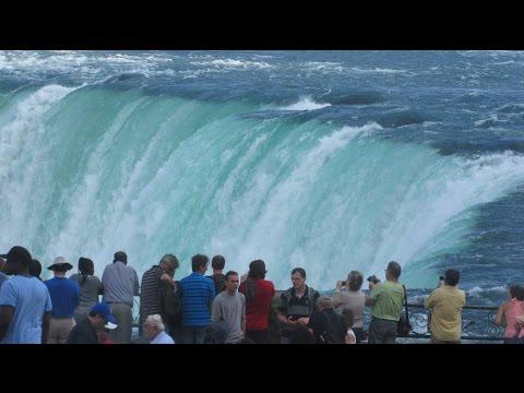 Niagara Falls Ontario Canada - View From Promenade & Hornblower Boat Cruise