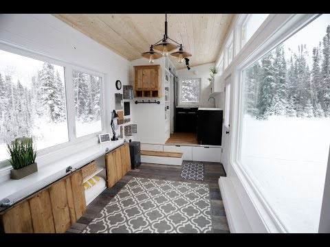 Open Concept Modern Tiny House With Elevator Bed