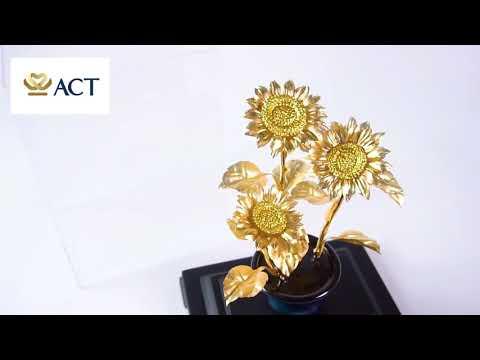 Tranh hoa hướng dương dát vàng (14x34cm)