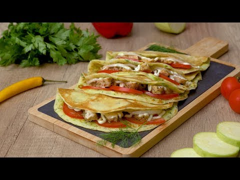 Как приготовить кабачковые блины с начинкой - Рецепты от Со Вкусом видео