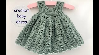 crochet baby dress madeline 2020  - app. 0 - 6 months - how to crochet a baby dress