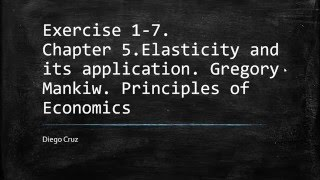 Chapter 5. Exercises 1-7. Elasticity and its application.