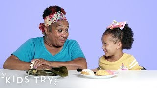 Kids Try Their Grandparents' Favorite Childhood Foods: Round 3 | Kids Try | HiHo Kids