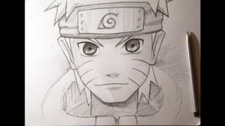 Смотреть онлайн Поэтапно рисуем Наруто - персонажа аниме карандашом