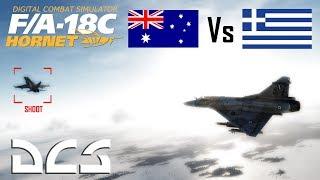 DCS: Australian F-18 Hornet Vs Greek Mirage M2000C Dogfight.
