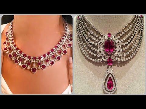 Designer Elegant Luxury Ruby Necklace Designs Diamond And Ruby Evening Wear Necklace Ideas