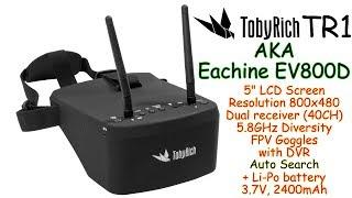 "TOBYRICH TR1 (EV800D) 5"" FPV Goggles, Dual receiver 40Ch, 5.8GHz, DVR, Diversity + built-in battery"