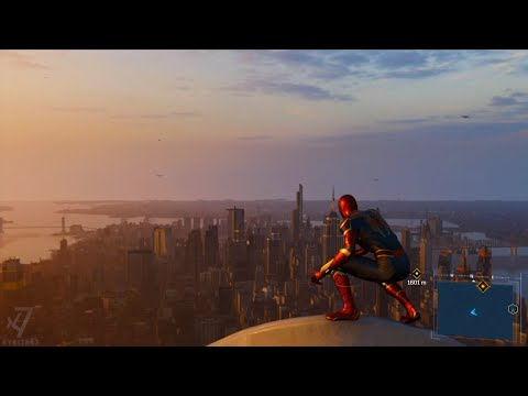 Spider-Man PS4 -View from The Tallest Building - World Trade Center | Iron Suit Web Swinging