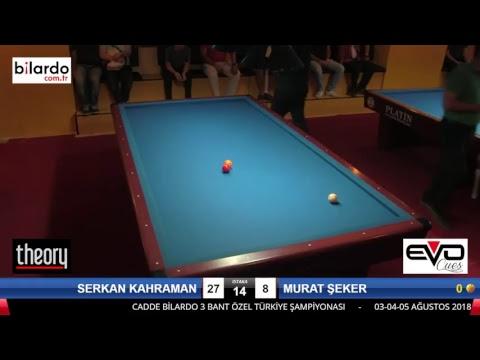 SERKAN KAHRAMAN & MURAT ŞEKER Bilardo Maçı - CADDE BİLARDO 3 BANT ÖZEL TÜRKİYE ŞAMPİYONASI-3. Tur