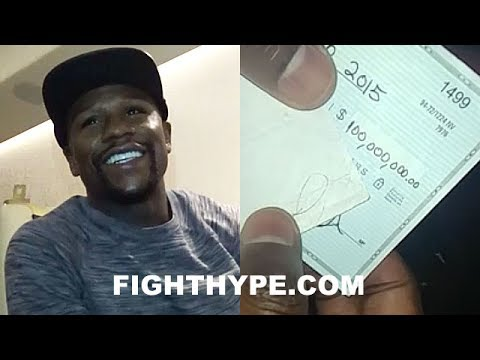 FLOYD MAYWEATHER SHOWS OFF $100 MILLION CHECK; STUNTS ON HATERS, LAUGHS AT TAX STORIES, BUYS 2 CARS