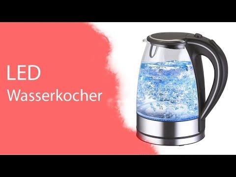 Glas Edelstahl Wasserkocher mit blauer LED Innenbeleuchtung : JeTEST - JetLoneStarr