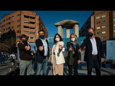 Inicio de campaña con Pablo Casado, Isabel Díaz Ayuso y José Luis Martínez-Almeida