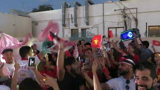 Supporters of Vietnam are celebrating the win against Jordan at the AFC Asian Cup UAE 2019
