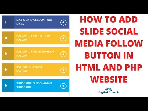 How to add slide social media follow button in html and php website