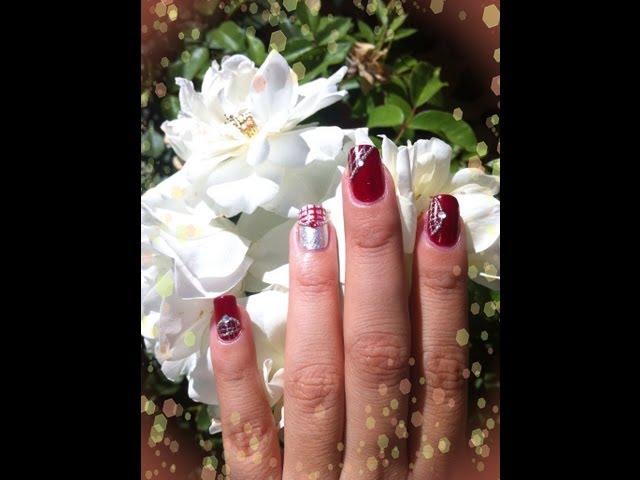 Diseno En Rojo Y Plata Unas Acrilicas Rojo Tinto Super Elegantes Con
