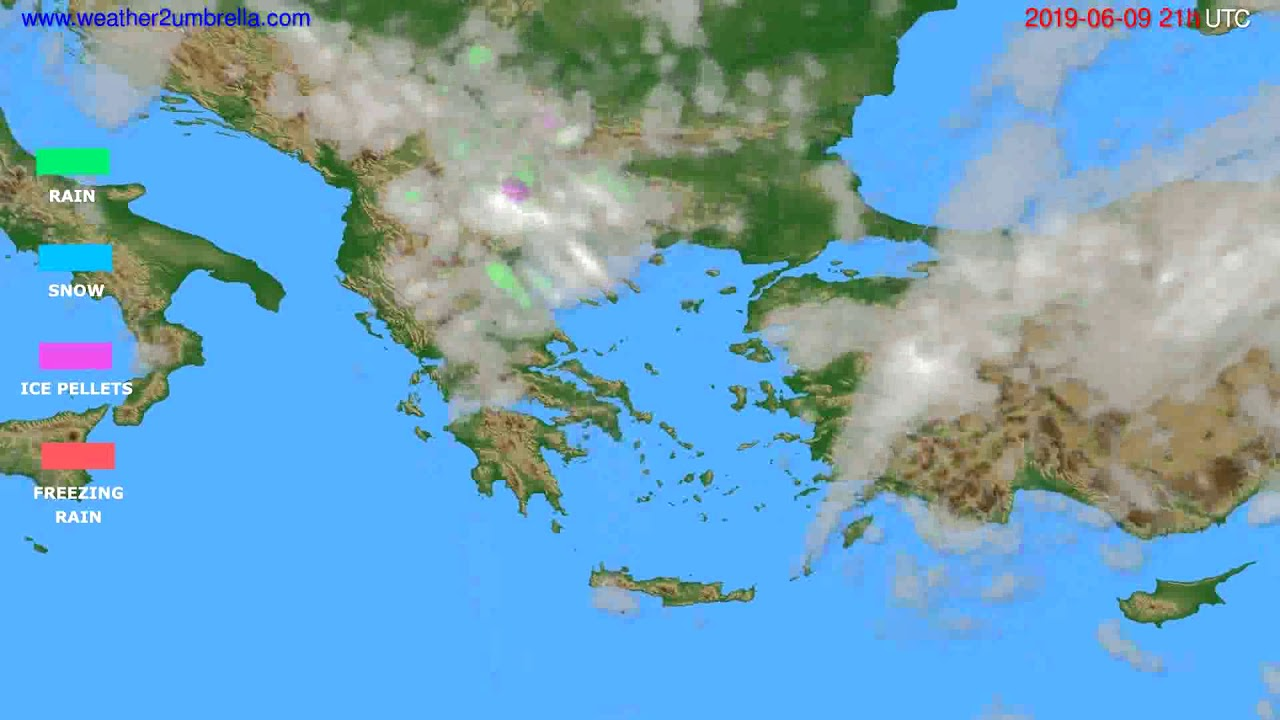 Precipitation forecast Greece // modelrun: 00h UTC 2019-06-08