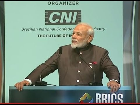Prime Minister, Shri Narendra Modi attends the closing ceremony of BRICS Business Forum in Brazil.