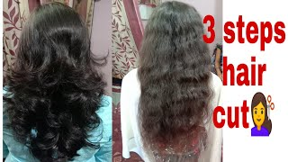 3 steps haircuting /Curly hair 3steps cut simple and easy method step by step