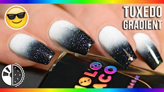 HOW TO: Black & White Gradient Nails + Pop Of Holo!