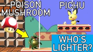 Smash Bros Ultimate - Who is lighter than Pichu when using a Poison Mushroom?